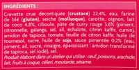 6 brochettes thaï bouchées aux crevettes et curry rouge - Ingredients
