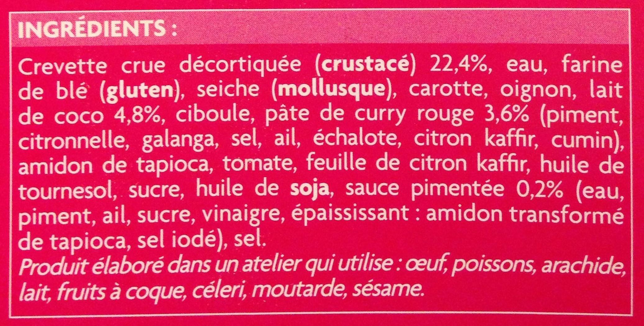 6 brochettes thaï bouchées aux crevettes et curry rouge - Ingrediënten