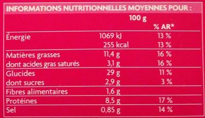 6 brochettes thaï bouchées aux crevettes et curry rouge - Nutrition facts