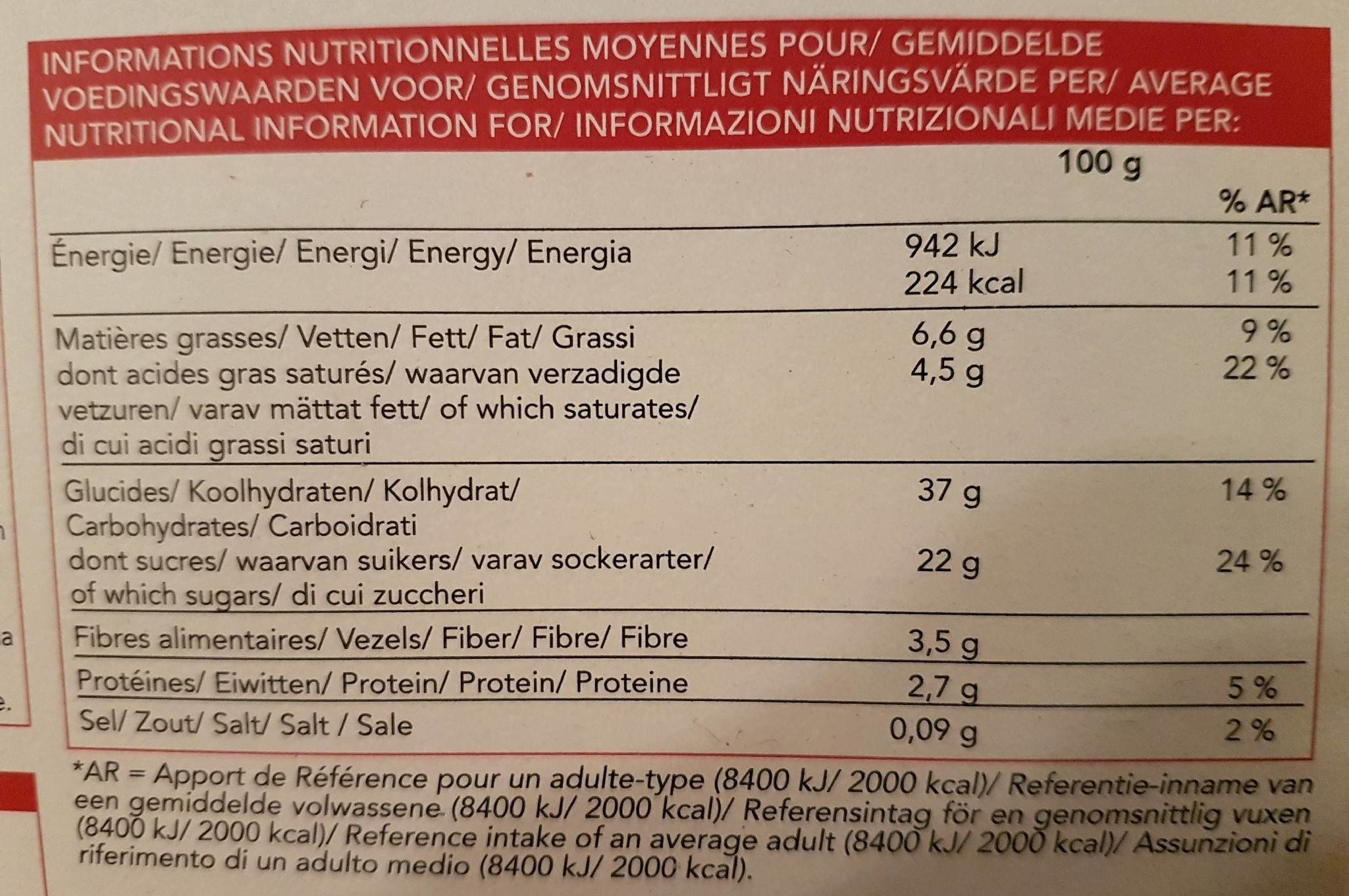 Tarte aux framboises - Voedingswaarden - fr