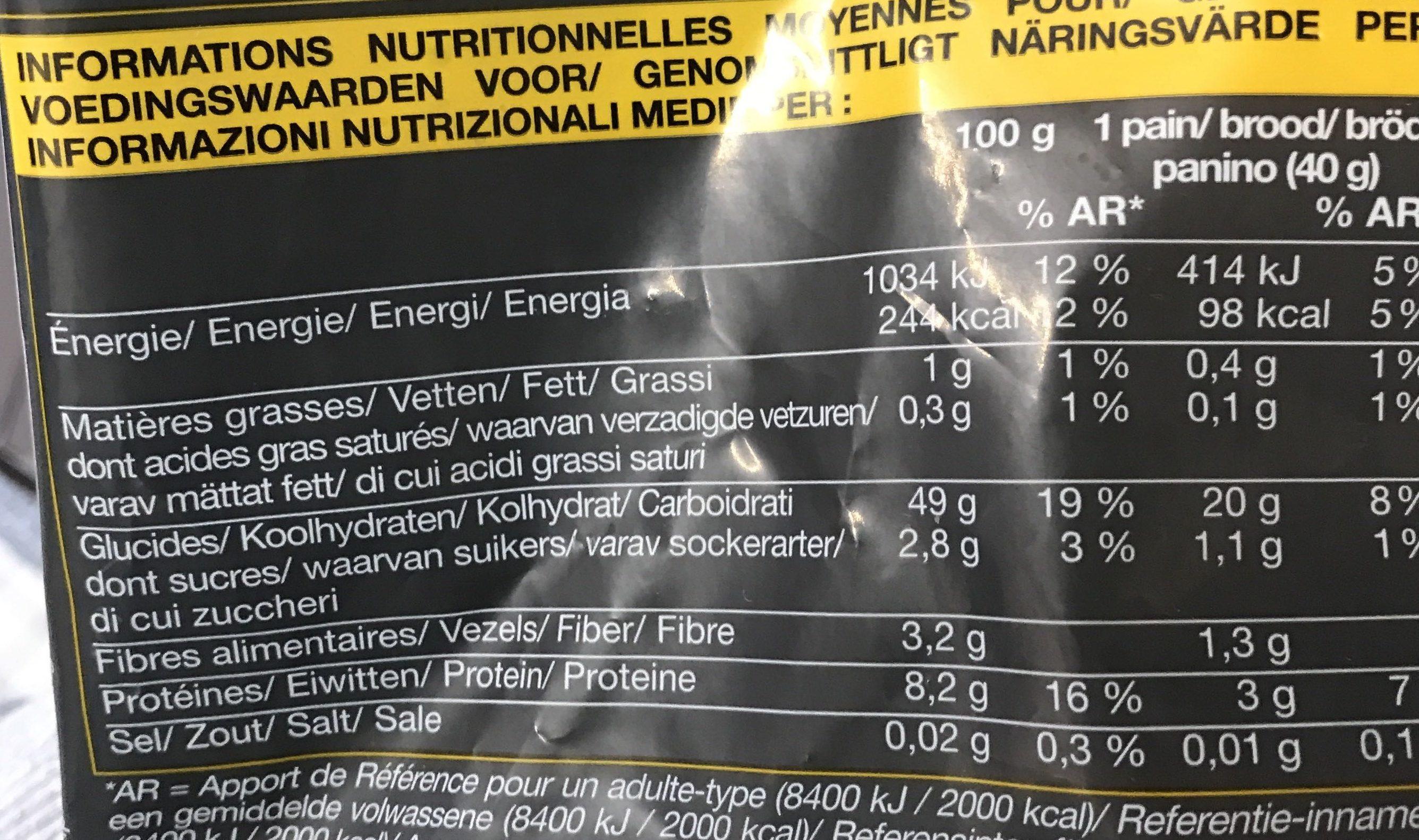 4 Petits Pains sans Sel - Nutrition facts