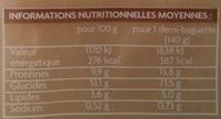 2 demi-baguettes aux céréales - Voedigswaarden