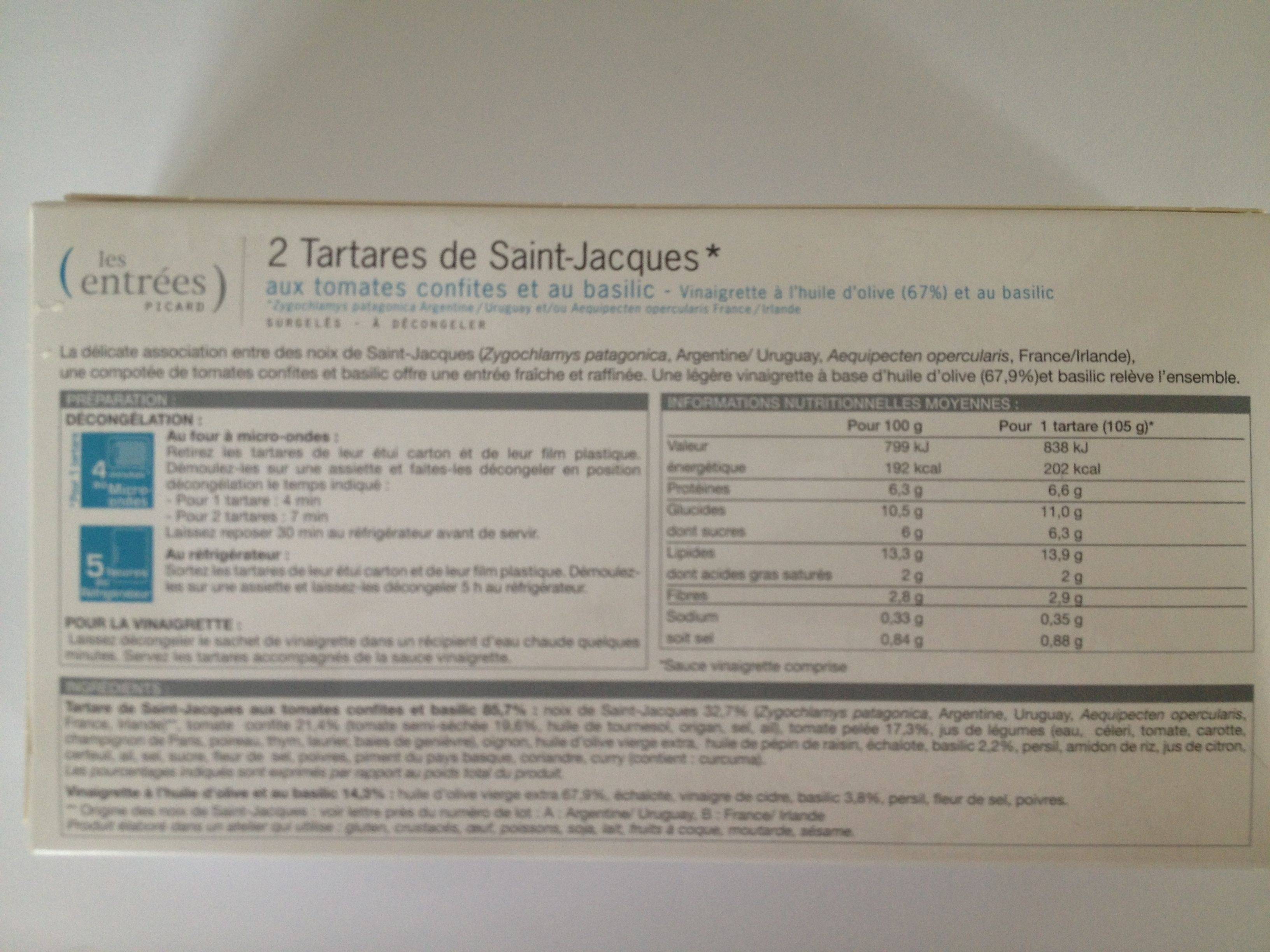 2 tartares de saint-jacques - Ingredients