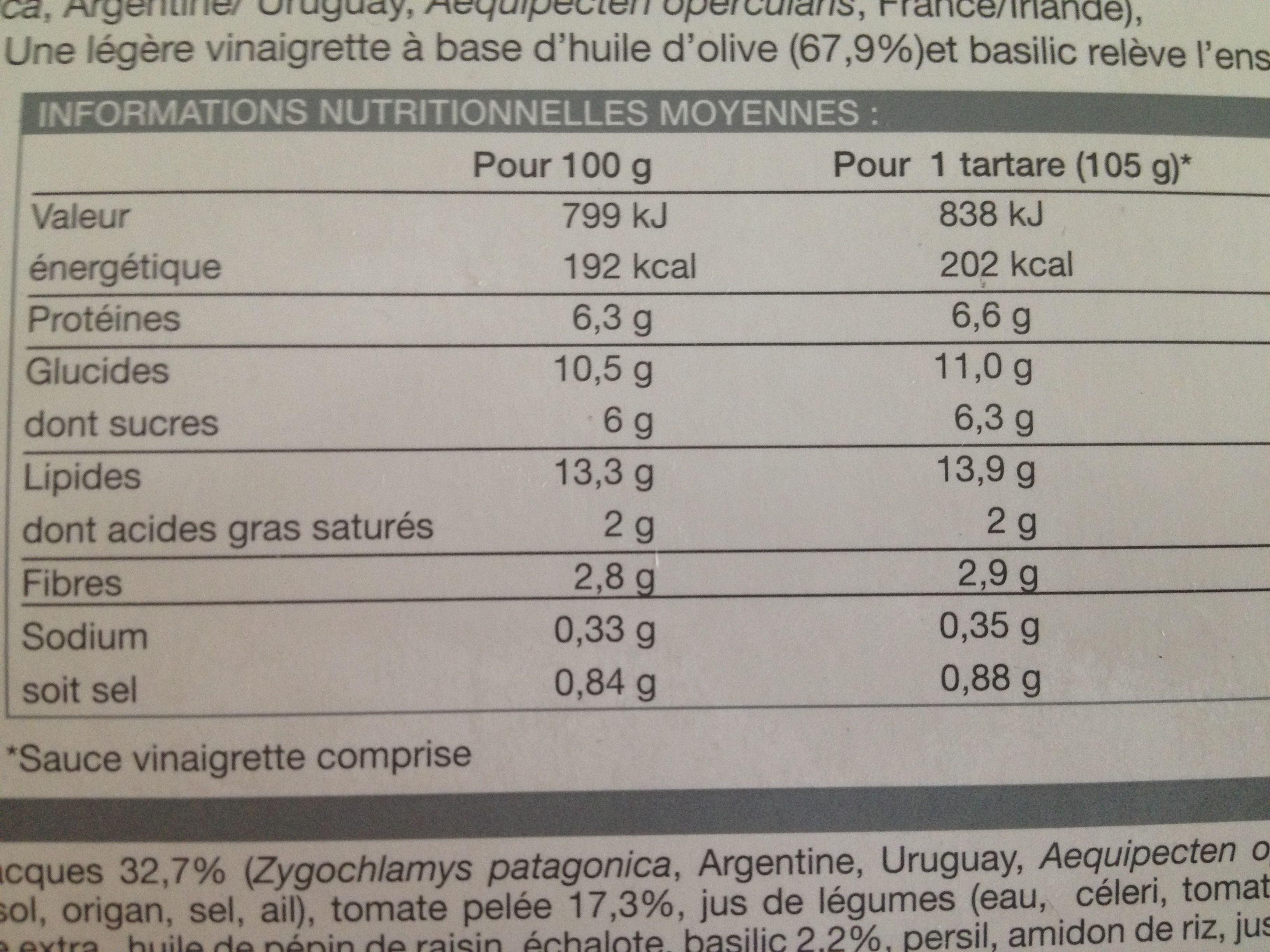 2 tartares de saint-jacques - Informations nutritionnelles