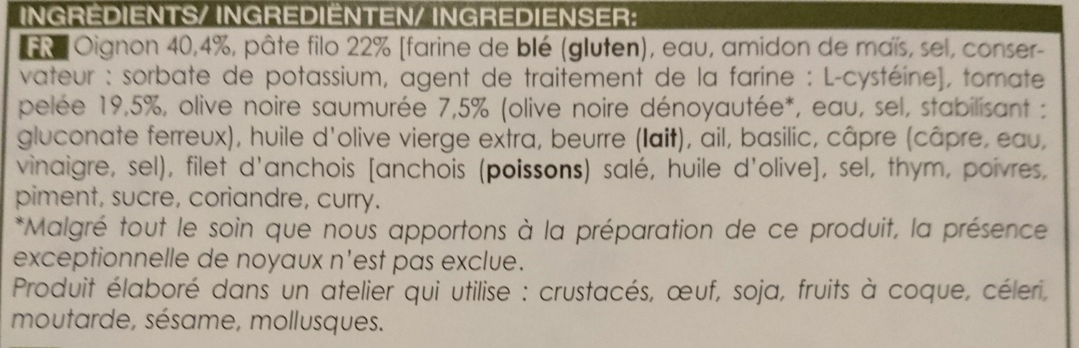 Pastillas oignons tomates olives - Ingredients