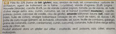 Collection traiteur - 2 Pastillas à l'agneau - Ingrédients - fr