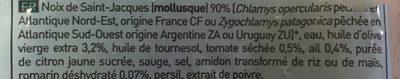 Noix de Saint-Jacques* aux tomates séchées et au romarin, Surgelé - Ingrediënten