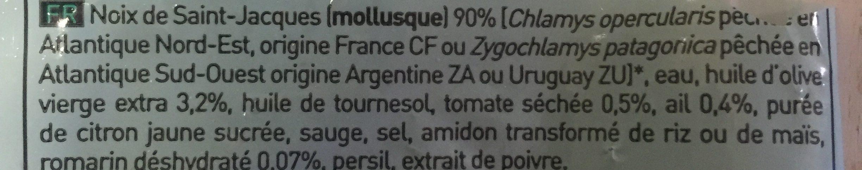Noix de Saint-Jacques* aux tomates séchées et au romarin, Surgelé - Ingrediënten - fr