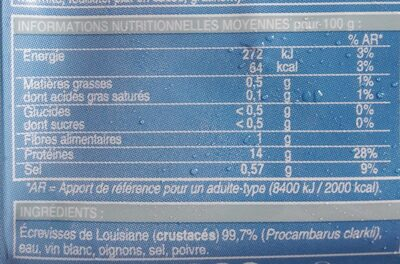 Écrevisses cuites décortiquées - Informations nutritionnelles - fr