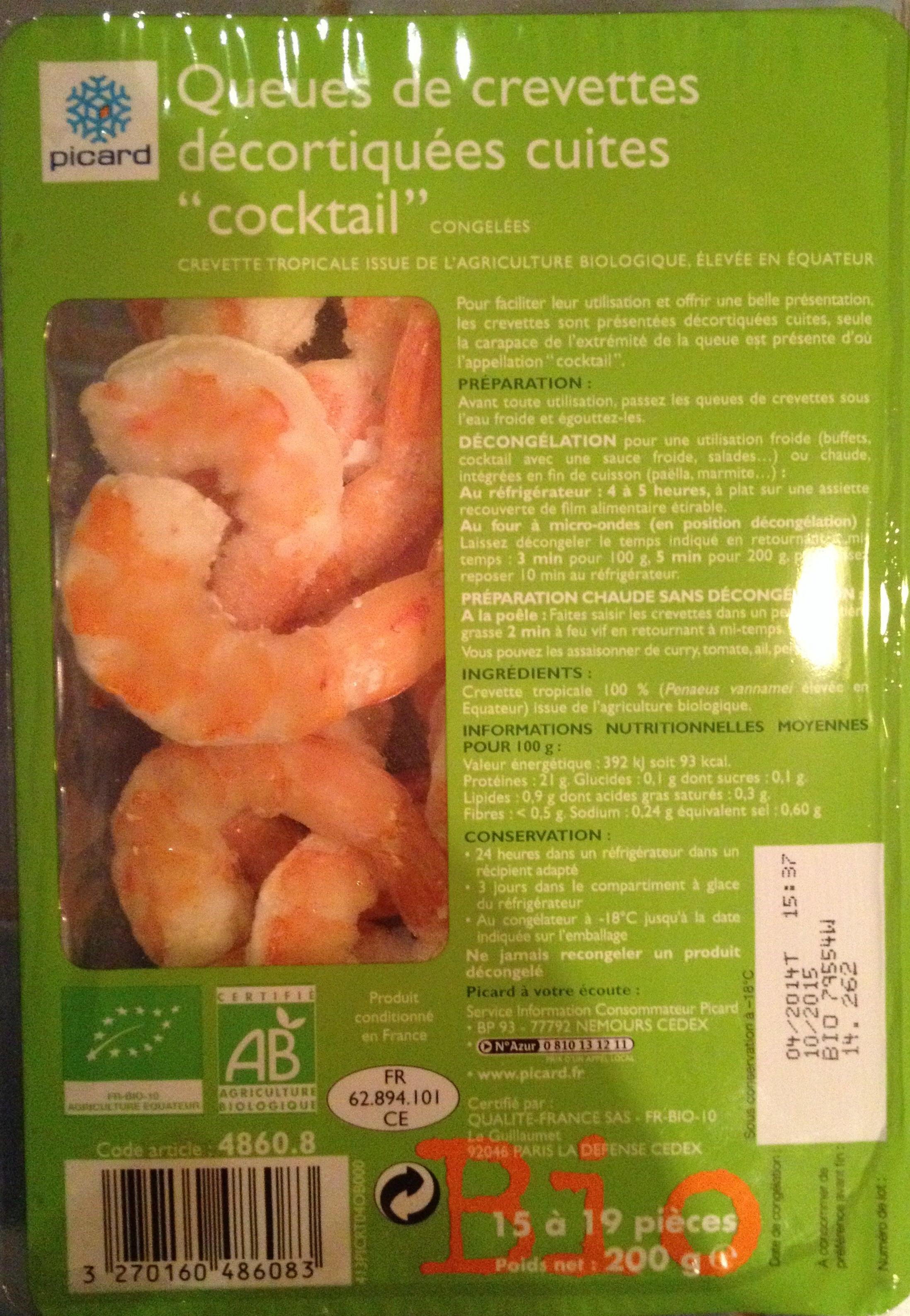"""Queue de crevettes décortiquées cuites """"coktail"""" - Product"""