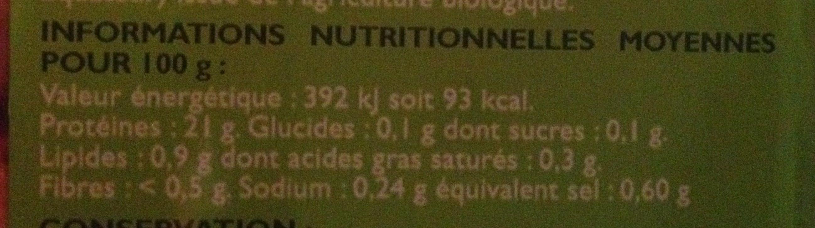 """Queue de crevettes décortiquées cuites """"coktail"""" - Voedigswaarden"""