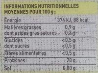 """Queue de crevettes décortiquées cuites """"coktail"""" - Voedingswaarden"""