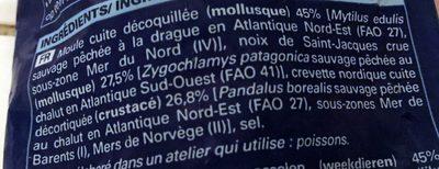 Mélange de Moules, Crevettes Nordiques, Noix de Saint-Jacques MSC - Ingredients