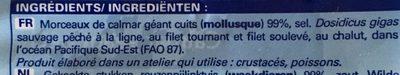 Morceaux de Calmar Géant Cuits - Ingredients