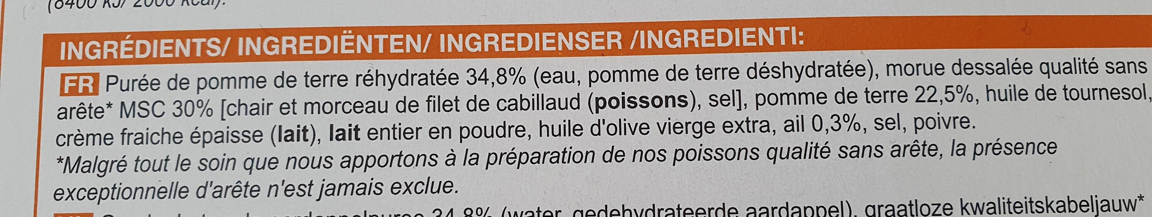 Brandade  parmentier de morue - Ingrediënten - fr