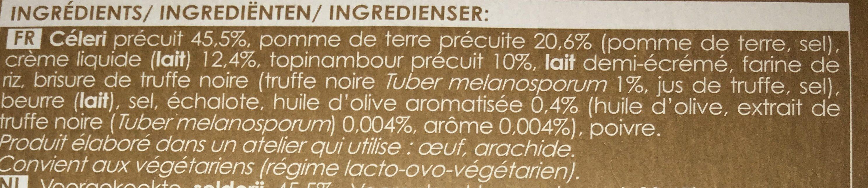 Écrasée de Céleri, Pomme de Terre, Topinambour, à la Truffe Noire 1% - Ingrédients