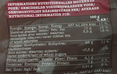 Frites à la Graisse de Canard - Informations nutritionnelles