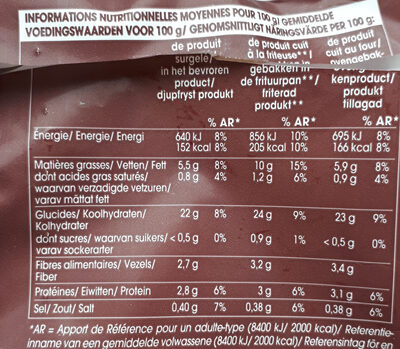 Façon Rustique Prefrites-surgelees - Voedingswaarden - fr