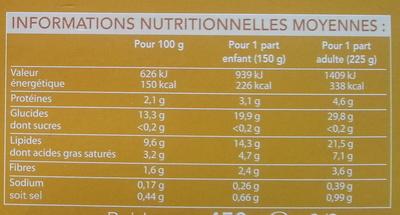 écrasée de pommes de terre à l'huile d'olive (7.5%) - Voedigswaarden