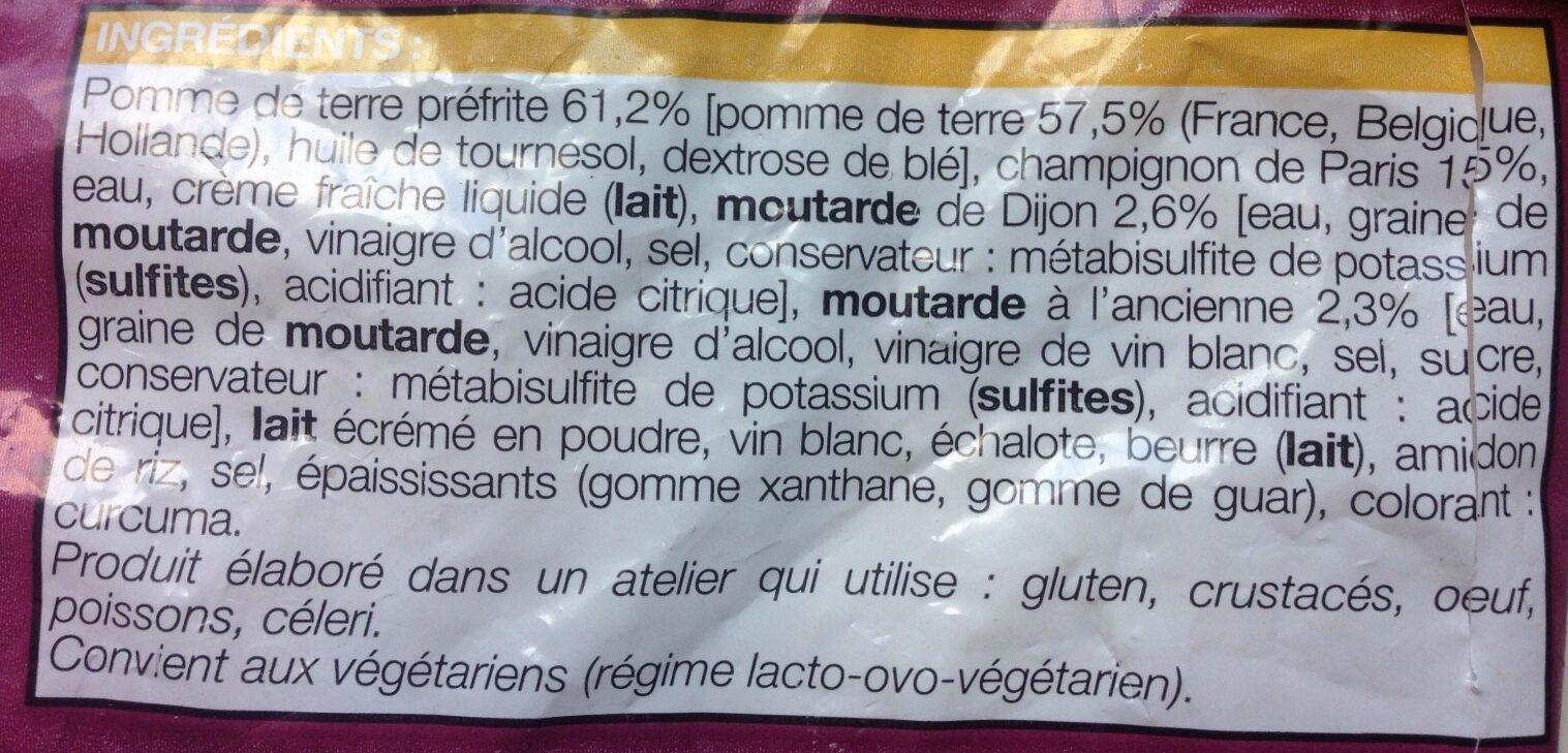 Poêlée de pomme de terre aux champignons de Paris - Ingredients - fr