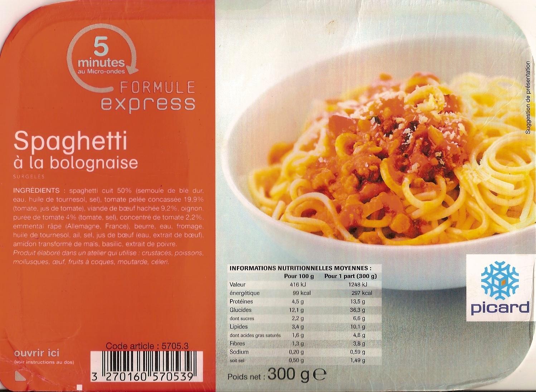 Spaghetti la bolognaise surgel s picard 300 g for Picard plats cuisines