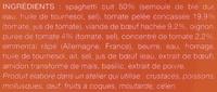 Spaghetti à la bolognaise, Surgelés - Ingredients - fr