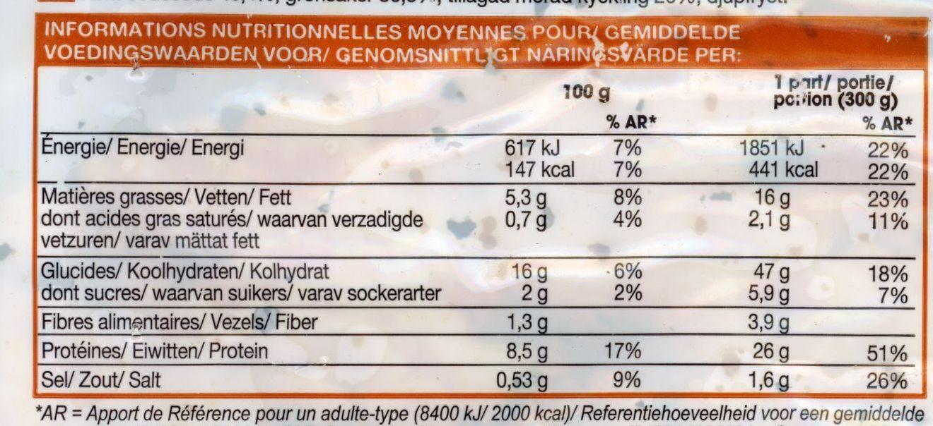 Semoule au poulet et petite légumes - Informations nutritionnelles - fr