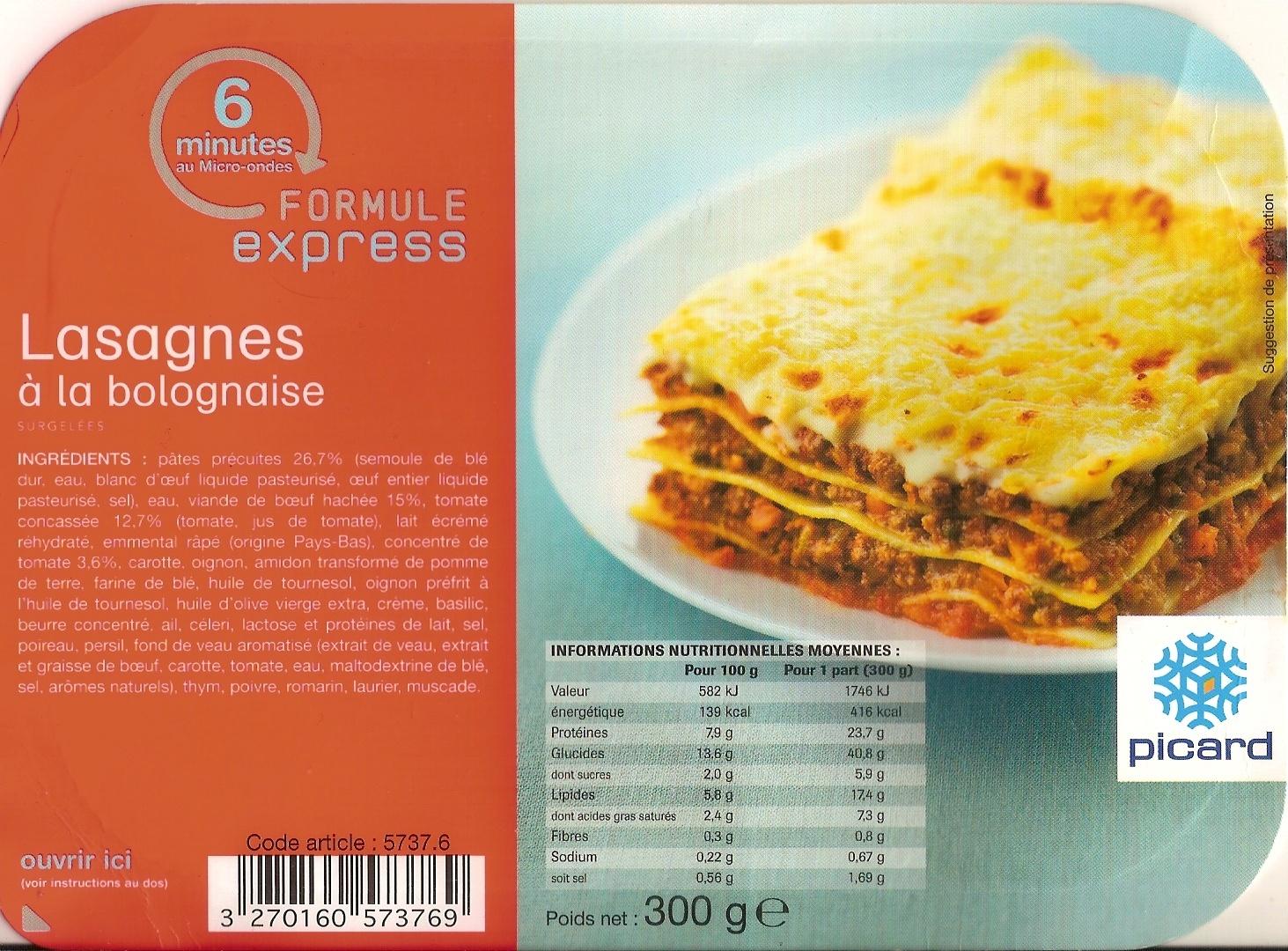 Lasagnes à la bolognaise, Surgelées - Product - fr
