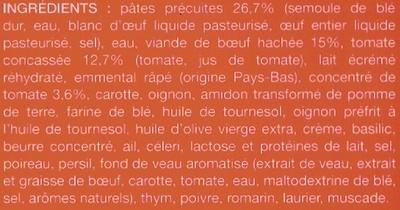 Lasagnes à la bolognaise, Surgelées - Ingrediënten - fr
