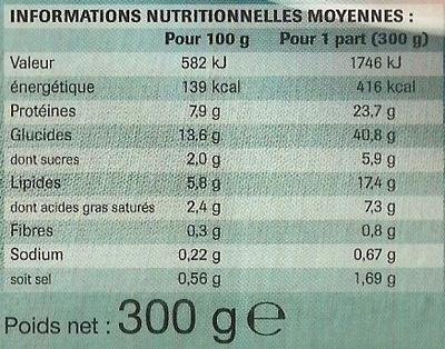 Lasagnes à la bolognaise, Surgelées - Voedingswaarden - fr