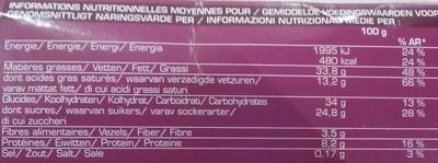 Croquant chocolat - Informations nutritionnelles