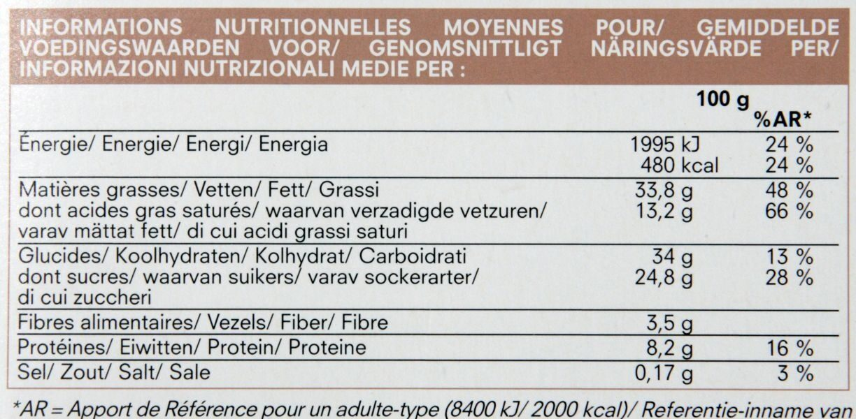 Croquant chocolat - Nutrition facts - fr