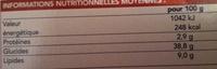 Tarte à la Normande - Informations nutritionnelles