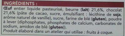 Cake pur beurre au chocolat cuit surgelé - Ingrédients