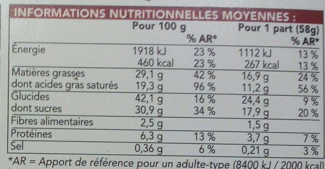 Cake pur beurre au chocolat cuit surgelé - Informations nutritionnelles