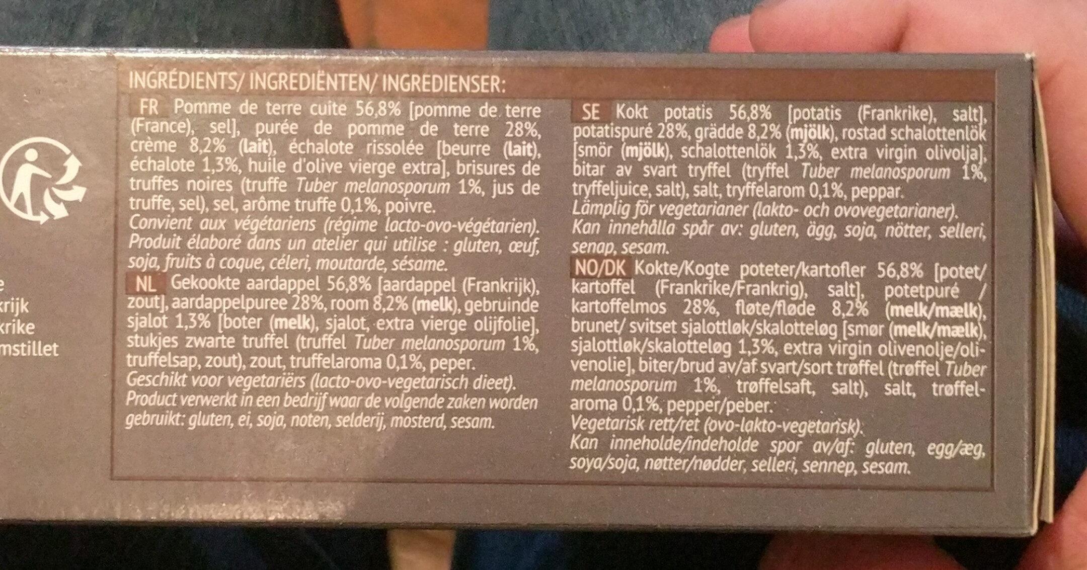 Ecrasée de Pomme de Terre aux Truffes noires (1%) et à l'arôme de Truffe surgelée - Ingredients