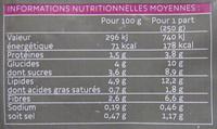 Tajine de légumes surgelé - Informations nutritionnelles - fr