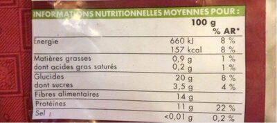 Mogette de Vendée - Informations nutritionnelles - fr