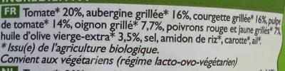 Ratatouille cuisinée Bio - Ingrédients - fr