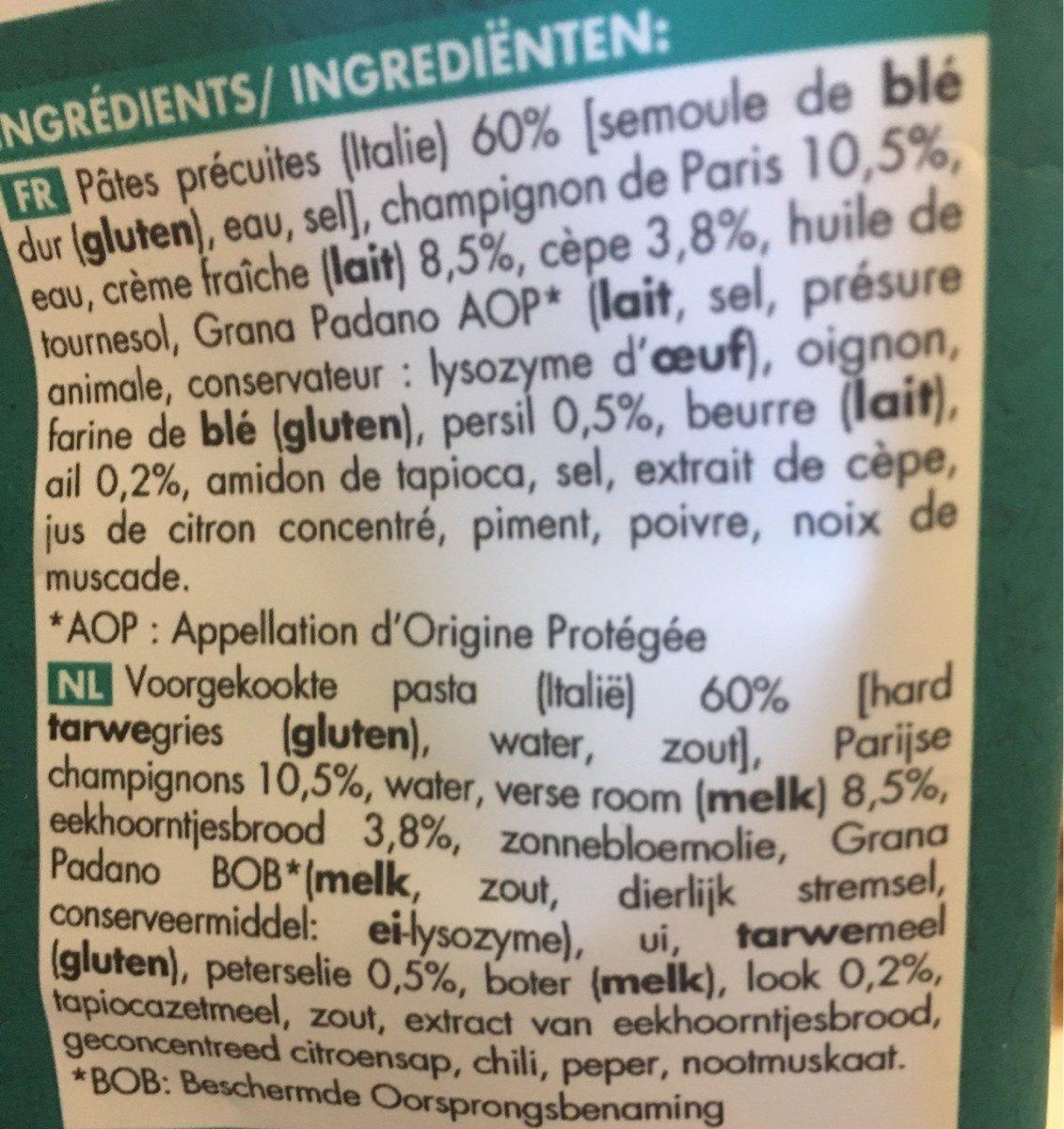 Penne aux champignons à la crème - Ingrédients - fr