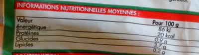 Trio de poivrons - Informations nutritionnelles