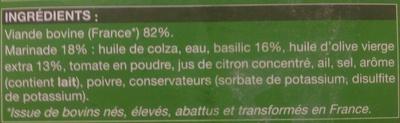 Carpaccio de boeuf et sa marinade au pistou - Ingrédients