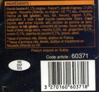 Boulettes de viande cuites kefta - Ingrédients - fr