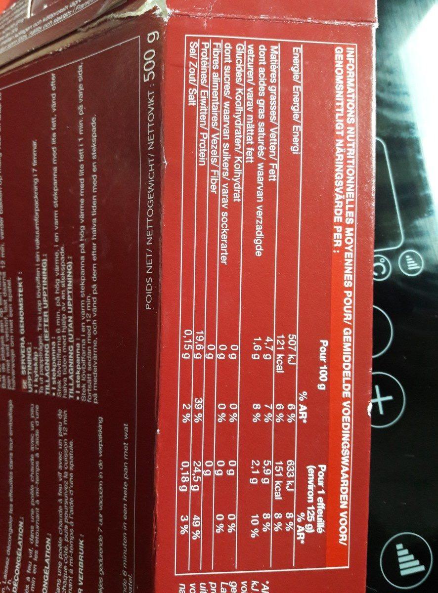 4 effeuilles de charolais - Ingrédients