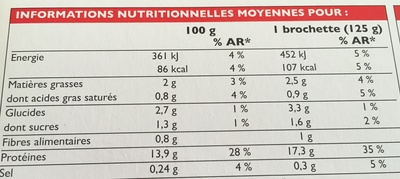 2 brochettes royal grill boeuf - Informations nutritionnelles - fr