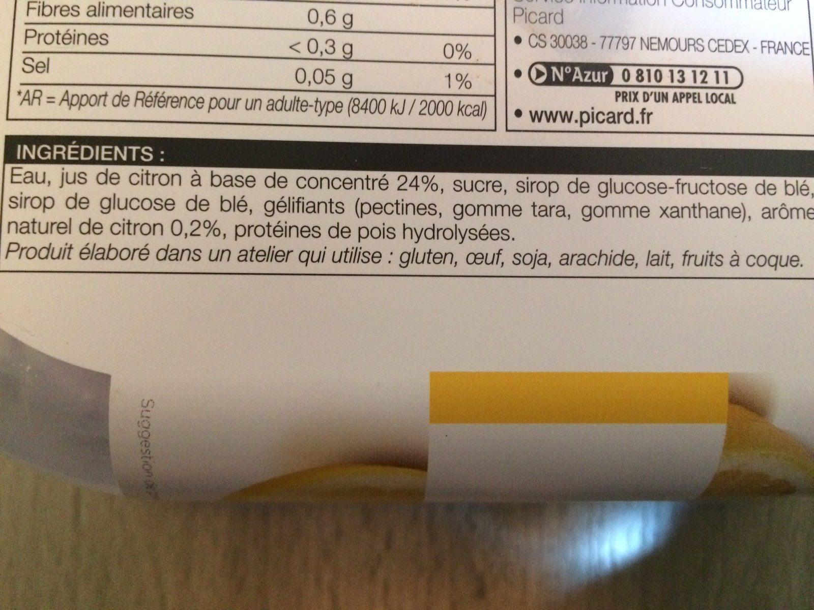 Sorbet citron - Ingredients