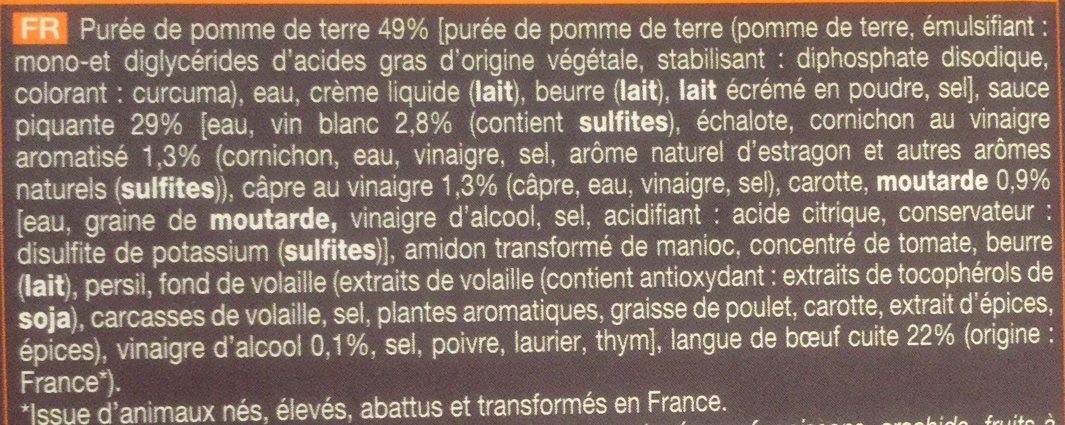 Langue De Boeuf Sauce Piquante Et Purée De Pommes De Terre - Ingrédients
