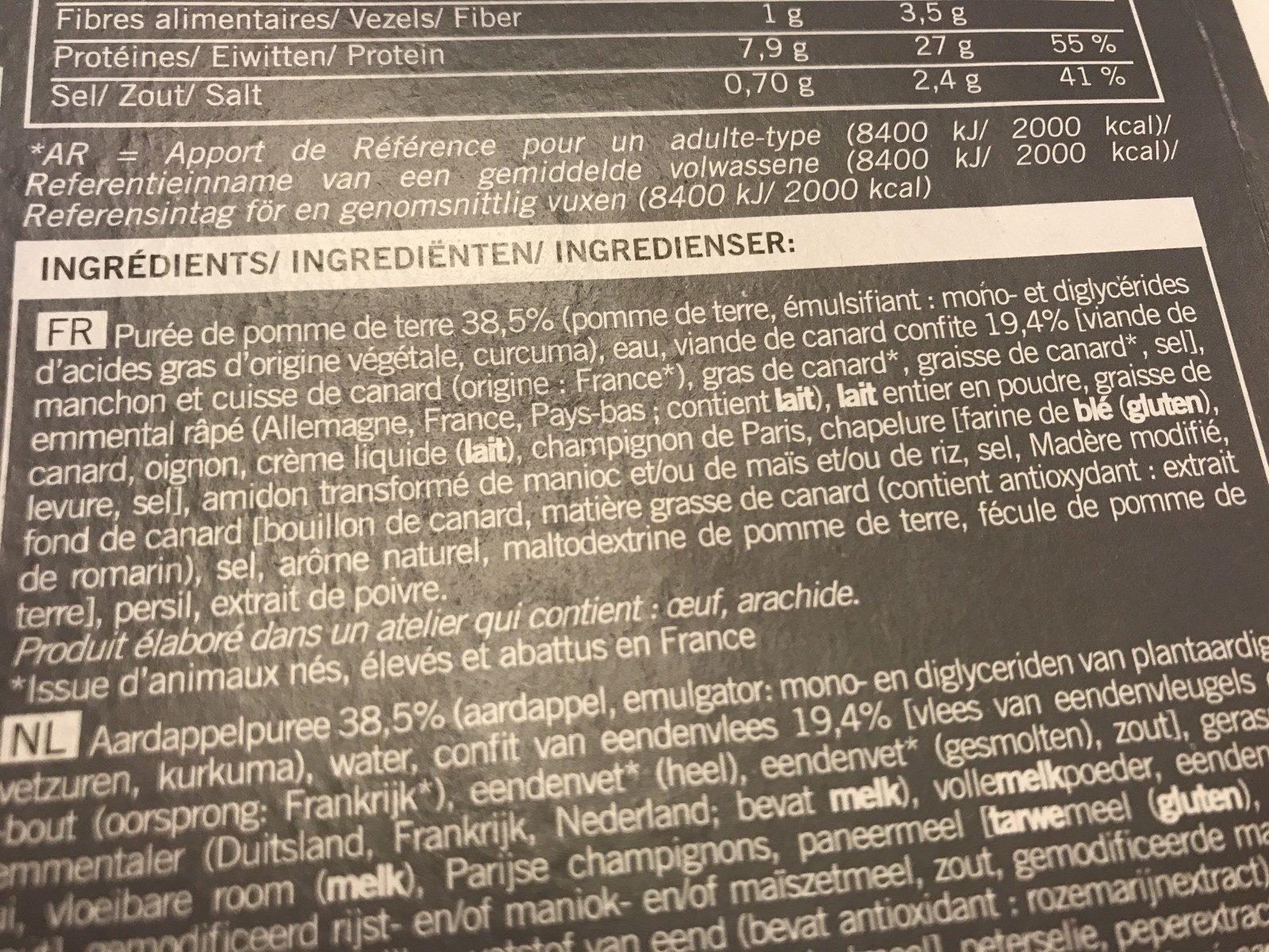 Parmentier de Canard, Surgelé - Ingrédients - fr