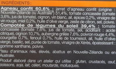 Agneau confit et compotée de légumes du soleil surgelés - Ingredients - fr