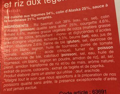 Colin d'Alaska à la bordelaise et riz aux légumes, Surgelés - Ingrediënten - fr